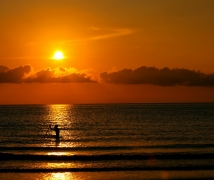 海口的海边看落日